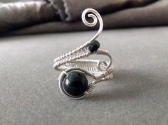 Black Tourmaline Ring Gemstone Ring Wire by PowerstoneJewelry1