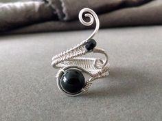 Black Tourmaline Ring Gemstone Ring Wire by PowerstoneJewelry1
