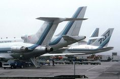 Eastern Airliners at airport gate. (rare picture of 4 different jets all side by side - 727, A300, 757 and L-1011)