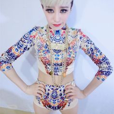 New Fashion Rhinestones Print Female Singer Dj Ds Performance Wear Costumes  Set Slim Casual Women Dancer Stage Show Clothes-in Chinese Folk Dance from  ... c52d049c7255