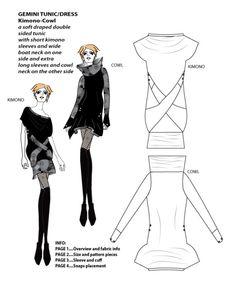 Gemini Tunic/Dress Kimono-Cowl