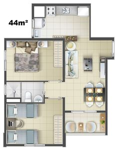 Give Your Home's Interior A Special Flare With Some Easy Design Tips Apartment Floor Plans, Bedroom Floor Plans, House Floor Plans, D House, Sims House, Studio Apartment Layout, Apartment Design, Modern House Plans, Small House Plans