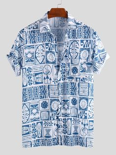 Best Chance of Mens Summer Floral Printed Chest Pocket Turn Down Collar Sho If You will buy for Short Sleeve Casual T-shirts, then Mens Su. Mens Vintage Shirts, Vintage Men, Camisa Floral, Mens Printed Shirts, Mens Clothing Styles, Men's Clothing, Henley Shirts, White Casual, Casual Shirts For Men