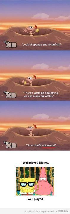 Phineas and Ferb vs. Spongebob lol