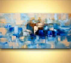Original contemporary blue abstract Painting by OsnatFineArt