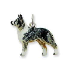 15mm x 16mm Solid 925 Sterling Silver Enameled Scottie Dog Pendant Charm