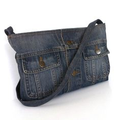 Recycled clothing , denim cross body purse with top zipper closure , jean messenger bag on Etsy, $38.00