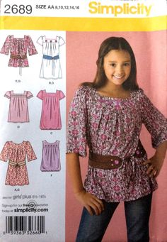 Simplicity 2689 UNCUT Girls Dress or Tunic and Belt by Lonestarblondie on Etsy