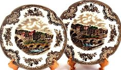 Johnson Brothers China Old Britain Castles Bread Plates (2) England Multicolor #JohnsonBrothers