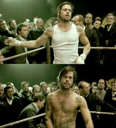 Brad Pitt in Snatch - so much unfffffff I really need to watch this movie again soon. Someone watch it with me? Brad Pitt Tattoo, Snatched Movie, Brad And Angelina, Tyler Durden, Guy Ritchie, Mikey, Film Serie, Cultura Pop, American Actors
