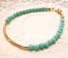 Sea Opal Curved Golden Tube Bar Stacking Bracelet por AngelPearls, $13.00