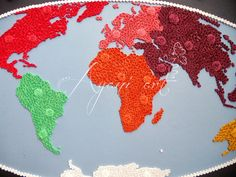 Ayani art - quilled map of world
