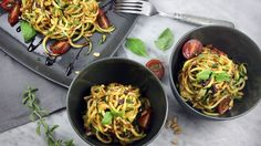 Zucchini Pasta with Sun-dried Tomato and Basil