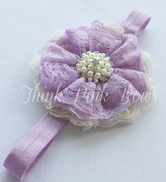 Baby HeadbandLace Headband baby girl by ThinkPinkBows on Etsy, $10.95