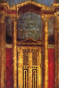 Roman fresco (2nd style) from the cubiculum of the Villa dei Misteri in Pompeii.