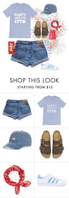 """4th of July"" by chanceprep ❤ liked on Polyvore featuring Abercrombie & Fitch, BP., Birkenstock and adidas"