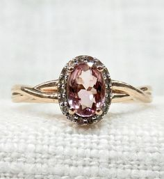 Vintage Engagement Ring inRose Gold Pink Tourmaline and White