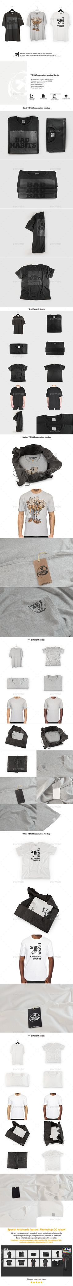 Buy T-Shirt Mockups Bundle by bangingjoints on GraphicRiver. This bundle features these packs: Black T-Shirt Presentation Mockup Heather T-Shirt Presentation Mockup White T-Shirt. T Shirt Design Template, Brand Presentation, Mockup Photoshop, Brand Style Guide, Shirt Mockup, Creating A Brand, Fashion Branding, Mockup Templates, Letter Templates
