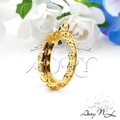 1pcs 24K Gold Plated Brass Flower Crown Bezel Setting by AoryNL