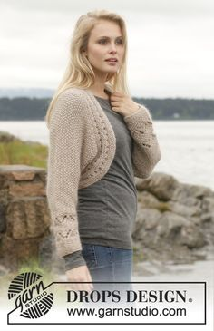 """Bolero with lace pattern and seed st in """"Alpaca"""" and """"Kid-Silk"""". Size: S - XXXL. ~ DROPS Design"""