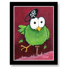 Whimsical Pirate Bird with Wooden Leg Postcard by LisaMarieArt