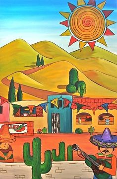 Mexican Cafe ~ Vicky Peacock - I like this simple, colorful style Mexican Artwork, Mexican Paintings, Mexican Folk Art, Owl Paintings, Latino Art, Mexico Art, Southwest Art, Cactus Art, Naive Art