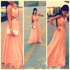 Backless Prom Dress,Chiffon Long Evening Gown With Straps,Sexy Prom Dress,Floor Length Prom Dresses,Long Dress for Prom