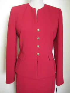 Tahari Arthur S. Levine Red Size 8 Tailored Skirt Suit New With Tags in Clothing, Shoes, Accessories, Women's Clothing, Suits, Blazers   eBay