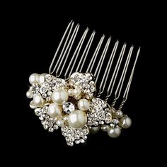 Antonina Beautiful Freshwater Pearl and Rhinestone Wedding Bridal Hair Comb - Gold * This is an Amazon Affiliate link. Visit the image link more details.