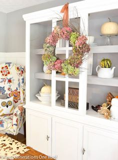 Decorating our hutch + How to make a wreath using hydrangeas @Four Generations One Roof