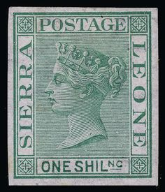 Sierra Leone, Scott 10, SG 10- 10 (10) 1872 1' green Q Victoria, wmkd CC sideways, imperf proof in the issued color, fresh, rich color, OG,HR, VF  Dealer Colonial Stamp Company  Auction Starting Price: 1190.00 US$ (app. 942 EUR)