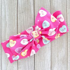 Candy Message Hearts Valentine's Day Fabric Top Knot Big Bow Headband Head Wrap, One Size Fits All