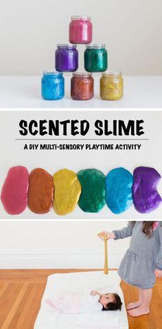"""Do little ones in your life love """"slime"""" but you hate the smell? Give the DIY scented Sensory Play Rainbow Glitter Slime a try! Sensory Activities, Craft Activities For Kids, Sensory Play, Projects For Kids, Diy For Kids, Crafts For Kids, Multi Sensory, Kids Fun, Diy Spring"""