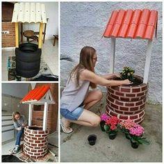 Идеи для сада. Клумба в виде мини-колодца своими руками.