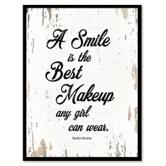 A Smile Is The Best Makeup Marilyn Monroe Quote Saying Home Decor Wall Art Gift Ideas 111666 #diyhomedecor