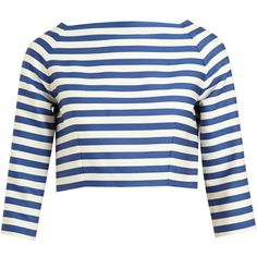 OLYMPIA LE-TAN Striped Wool-Cotton Crop Top (£550) ❤ liked on Polyvore featuring tops, shirts, crop tops, blusas, striped top, button up crop top, striped button-down shirts, blue striped top and long-sleeve crop tops