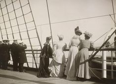 Dowager Empress Maria Feodorovna, Queen Olga of the Hellenes, Princess Victoria and Grand Duchess Olga on the deck of the Russian Imperial Yacht Standart in the Bay of Reval, 1908 9 Jun 1908