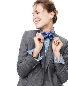 J.Crew women's double-breasted blazer, always chambray shirt and men's English silk bow tie with embroidered leaves.