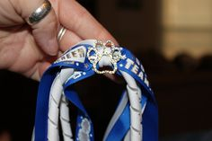 Royal bluemetallic cheer white and paw printed by BowsbyKrista, $6.50