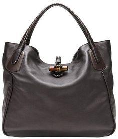 2a4124c96561 GUCCI Dark Brown Soft Deer Leather Large Hip Bamboo Tote Bag  mariskelately   apparel  . Discount Designer BagsLuxury ...