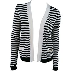 Pre-owned CHANEL Size 6 Cream/Black Striped Cardigan ($585) ❤ liked on Polyvore featuring tops, cardigans, sweaters, black striped top, knit tops, cream knit cardigan, thick cardigan and striped cardigan