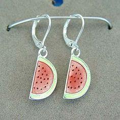 WATERMELON JUICY RED FRUIT SUMMER FOOD EARRINGS