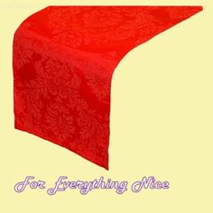 Scarlet Red Damask Flocking Taffeta Wedding Table Runners Decorations x 5 For Hire by JRMB7339 - $30.00