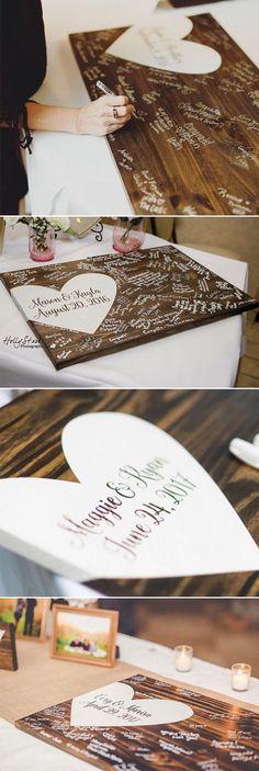 Rustikale Holz Hochzeit wünschen Baum Gast Zeichen Buch Hochzeit Herzstück