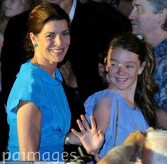 Princess Caroline of Monaco (L) with her daughter Alexandra of Hanover attend a music and light show performed by French composer and musician Jarre to celebrate the royal wedding at Port Hercules, in Monaco, 01 July 2011. Photo: Jochen Lbke dpa  Date: 01 Jul 2011