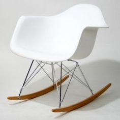 Amazon.com: Molded Plastic Rocking Baxton Studio Letterio White Cradle Chair  Contemporary Rocking Arm