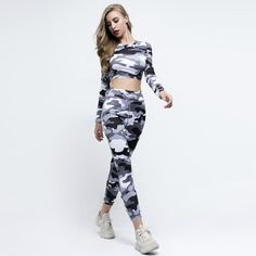 2018 Women Camouflage Fitness Sets Long Sleeve Crop Tops Push Up Leggings Two Pieces Set Tracksuit Suits Season, Ankle Length Pants, Sweatshirt Outfit, Women Sleeve, Running Shirts, School Fashion, Long Sleeve Crop Top, Fashion Pants, Suits For Women