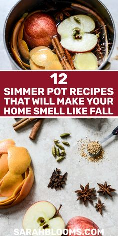 12 Homemade Natural Simmer Pot Recipes for Fall - Sarah Blooms - - Enjoy the warm smells of the season with these easy Fall Inspired Simmer Pot Recipes that will fill your home with the scent of autumn, naturally. Simmering Potpourri, Stove Top Potpourri, Potpourri Recipes, Homemade Potpourri, Fall Scents, Home Scents, Canned Pumpkin, Pumpkin Spice, Natural Air Freshener
