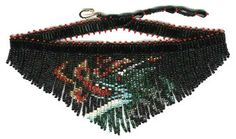 Dragon Fringe Necklace : Beading Patterns and kits by Dragon!, The art of beading. Bead Jewellery, Beaded Jewelry, Handmade Jewellery, Beaded Necklace Patterns, Beading Patterns, Beaded Banners, Dragon Pattern, Fringe Necklace, Seed Bead Bracelets