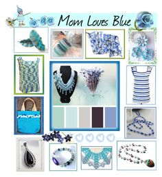 """Mom Loves Blue"" by belladonnasjoy ❤ liked on Polyvore featuring New View, Trademark Fine Art, modern and etsy"